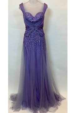 Mac Duggal CRISSCROSS DRAPING LILAC GOWN - Product List Image