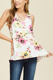 White Birch  CrissCross Floral Tank - Front cropped