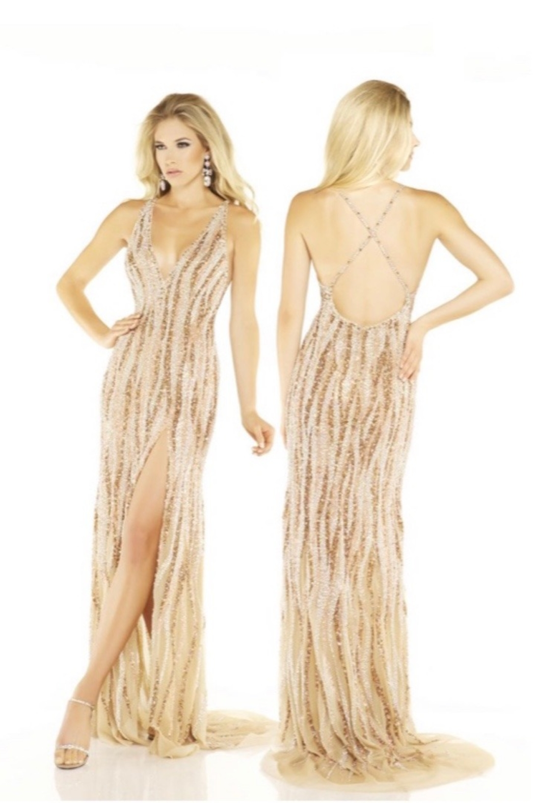 Mac Duggal CRISSCROSS LOW BACK PAGENT GOWN - Main Image