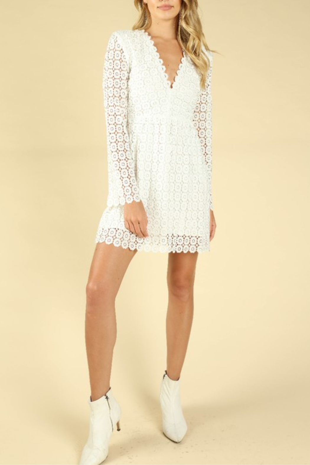 Wild Honey Crochet Bell Sleeve Dress - Back Cropped Image