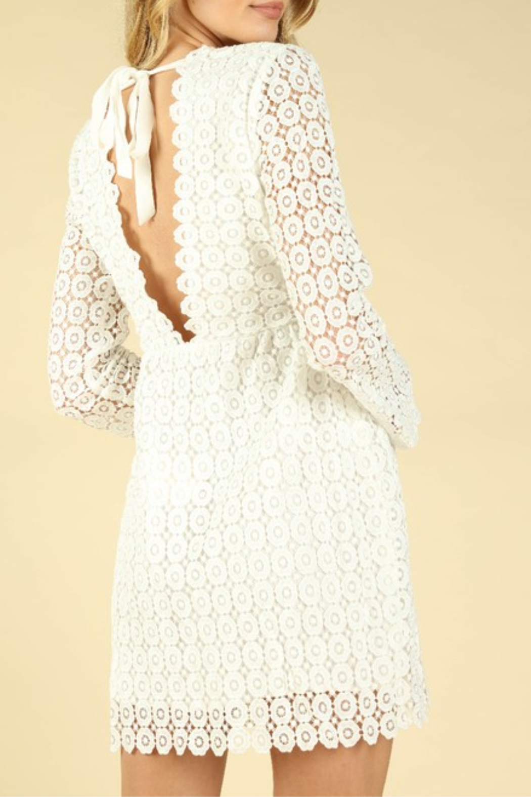 Wild Honey Crochet Bell Sleeve Dress - Side Cropped Image