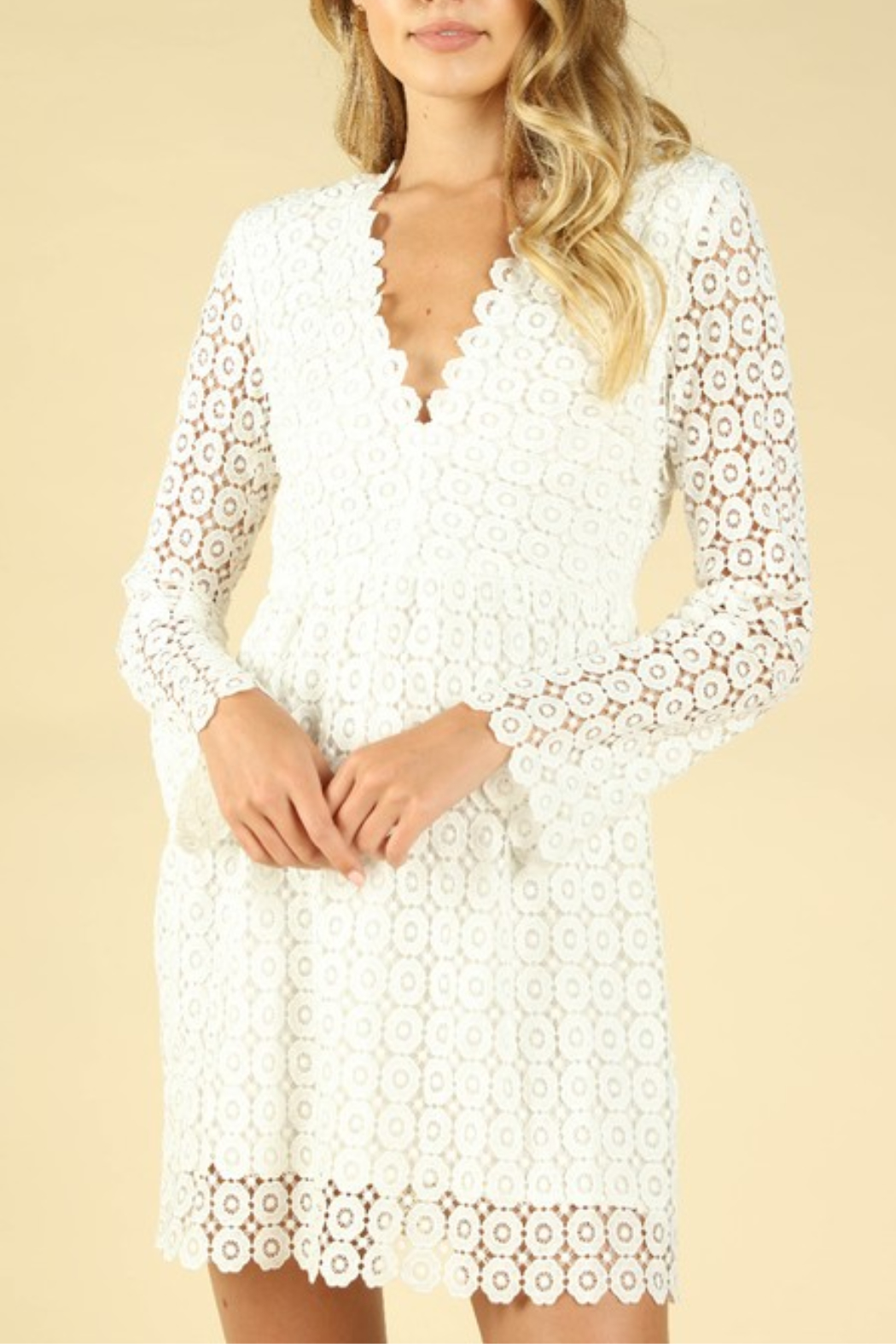 Wild Honey Crochet Bell Sleeve Dress - Front Cropped Image