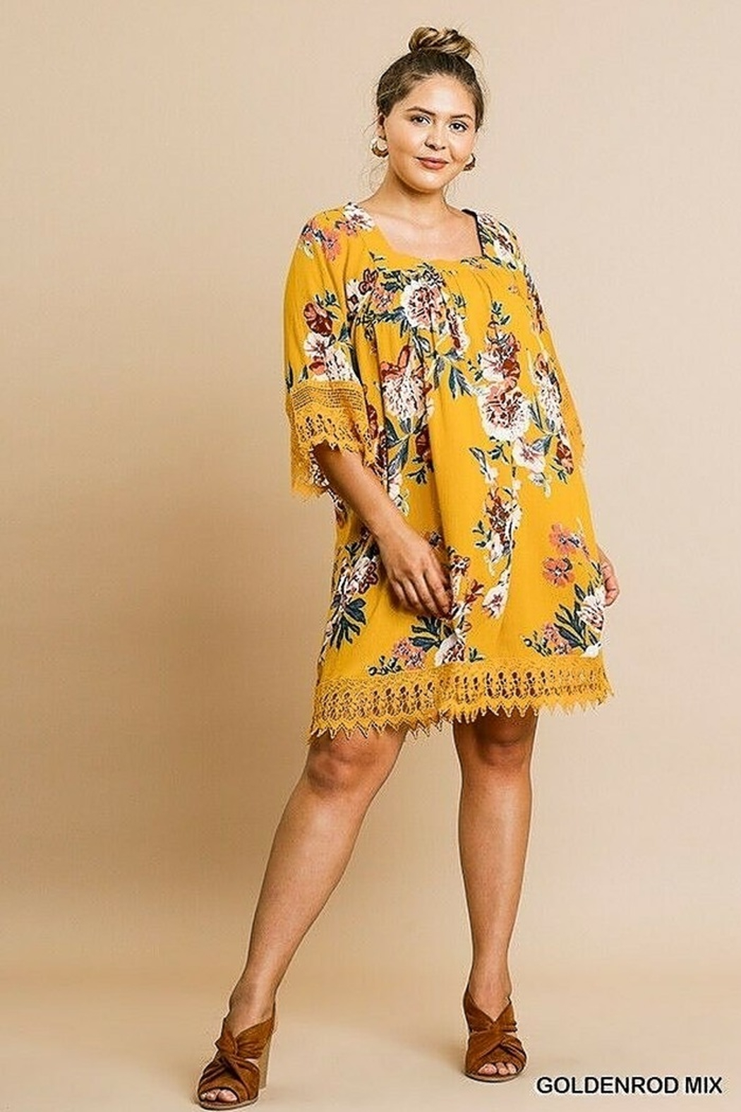 Umgee USA Crochet Bell Sleeve Square Neck - Front Full Image