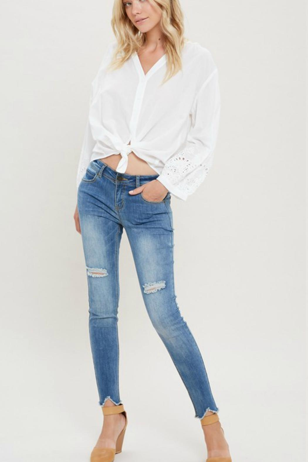 Wishlist Crochet Button-Down Blouse - Side Cropped Image