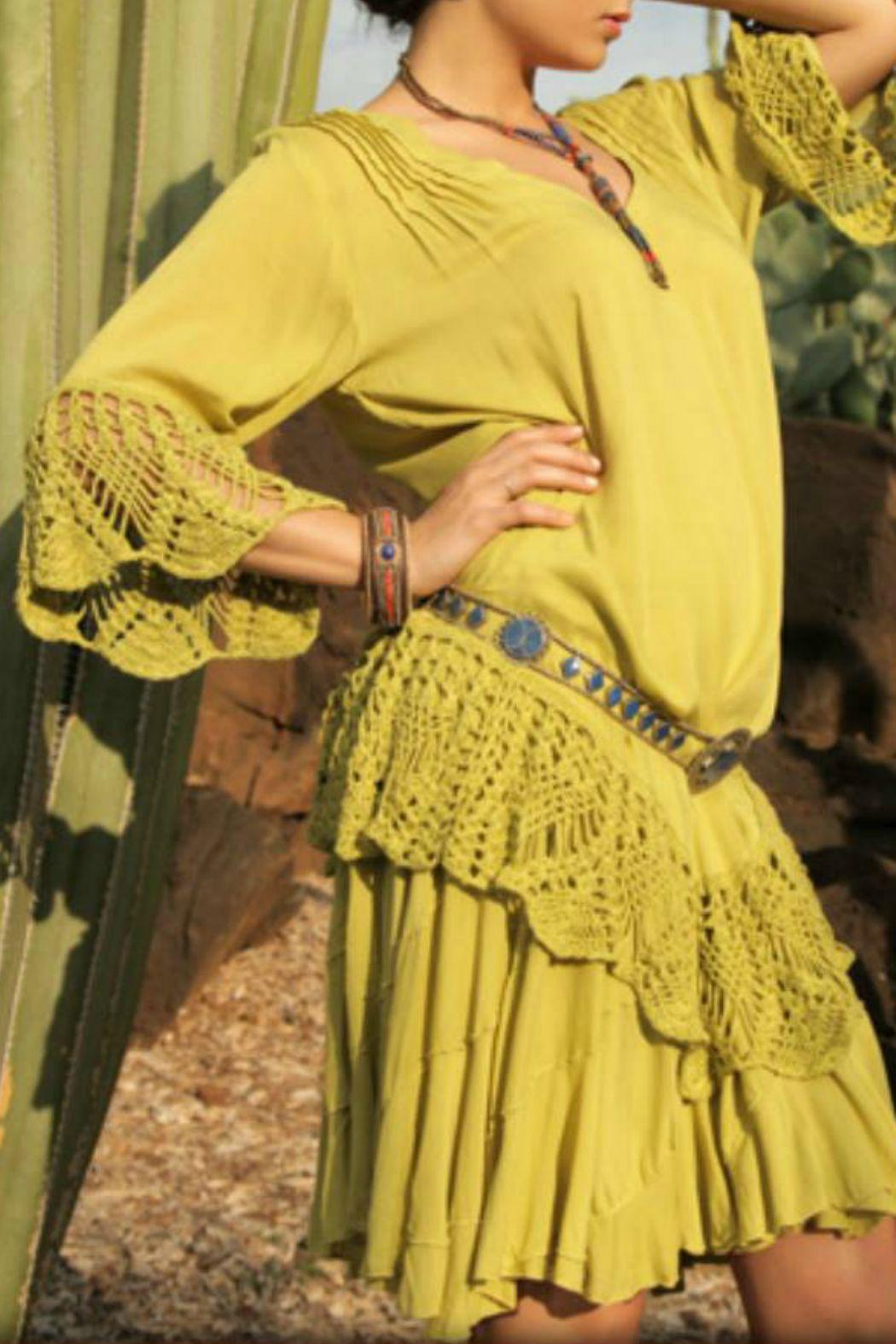 Crochet Detail Tunic Dress - Front Cropped Image