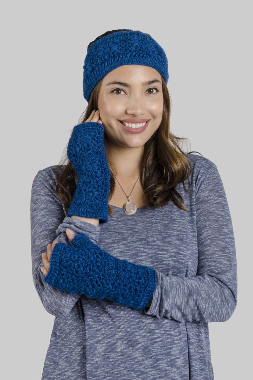 Windhorse Crochet Fingerless Gloves - Front Cropped Image
