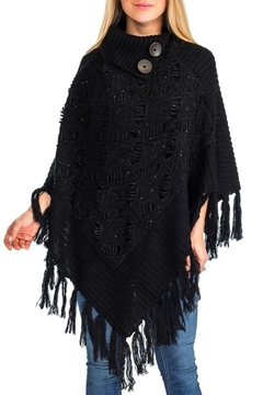 Cap Zone Crochet Knit Poncho - Product List Image