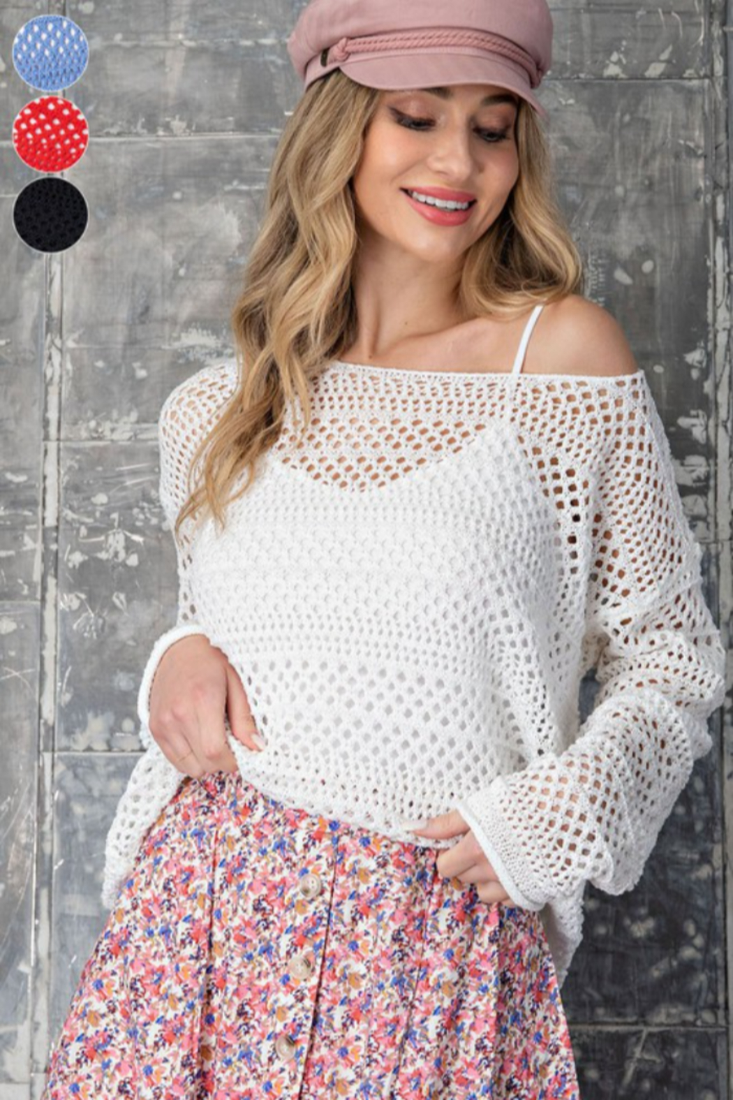 eesome Crochet Knit Sweater - Front Cropped Image