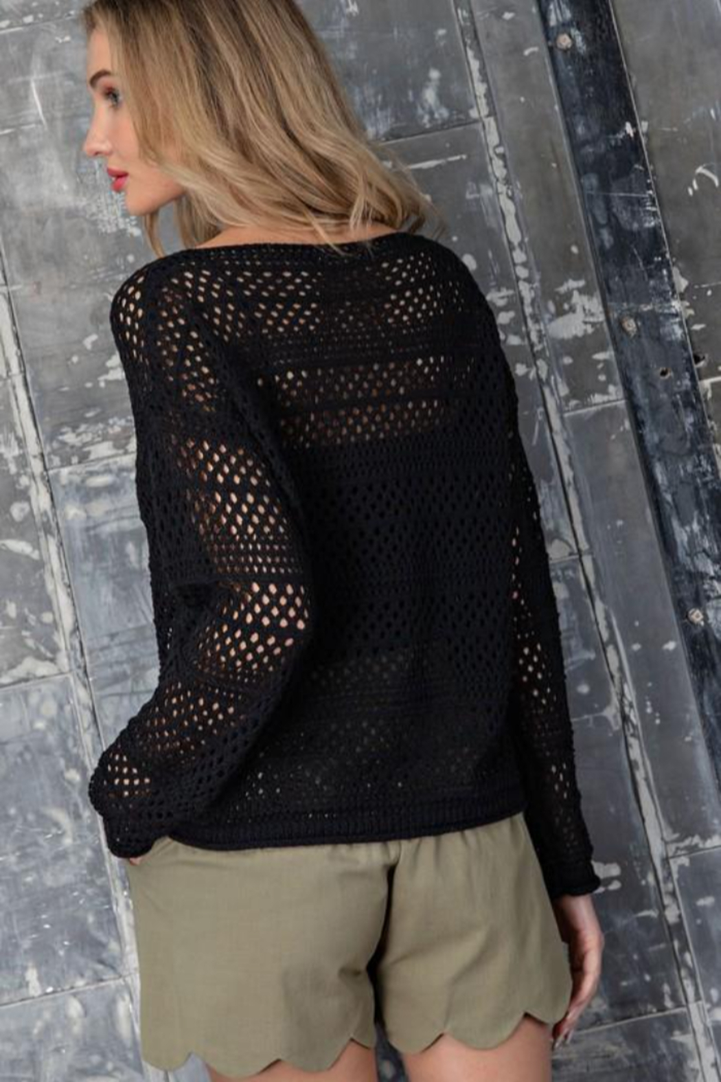 eesome Crochet Knit Sweater - Back Cropped Image
