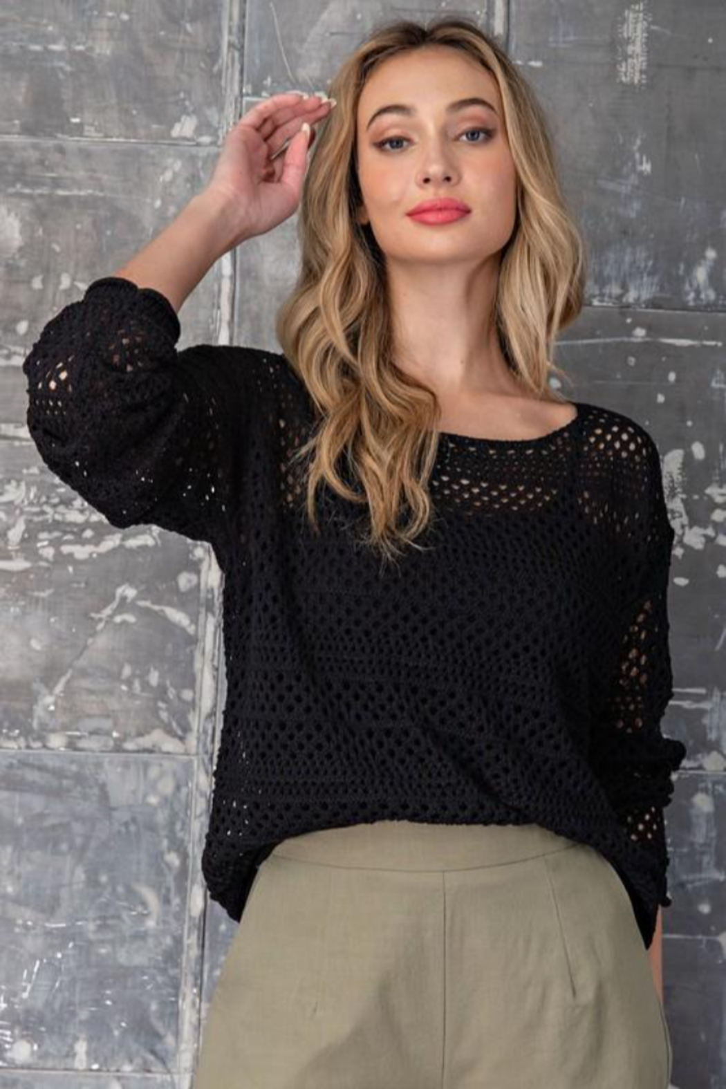 eesome Crochet Knit Sweater - Front Full Image