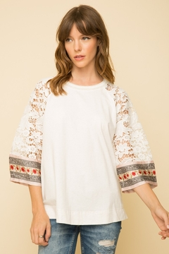 Mystree Crochet Lace Sleeved Blouse - Product List Image