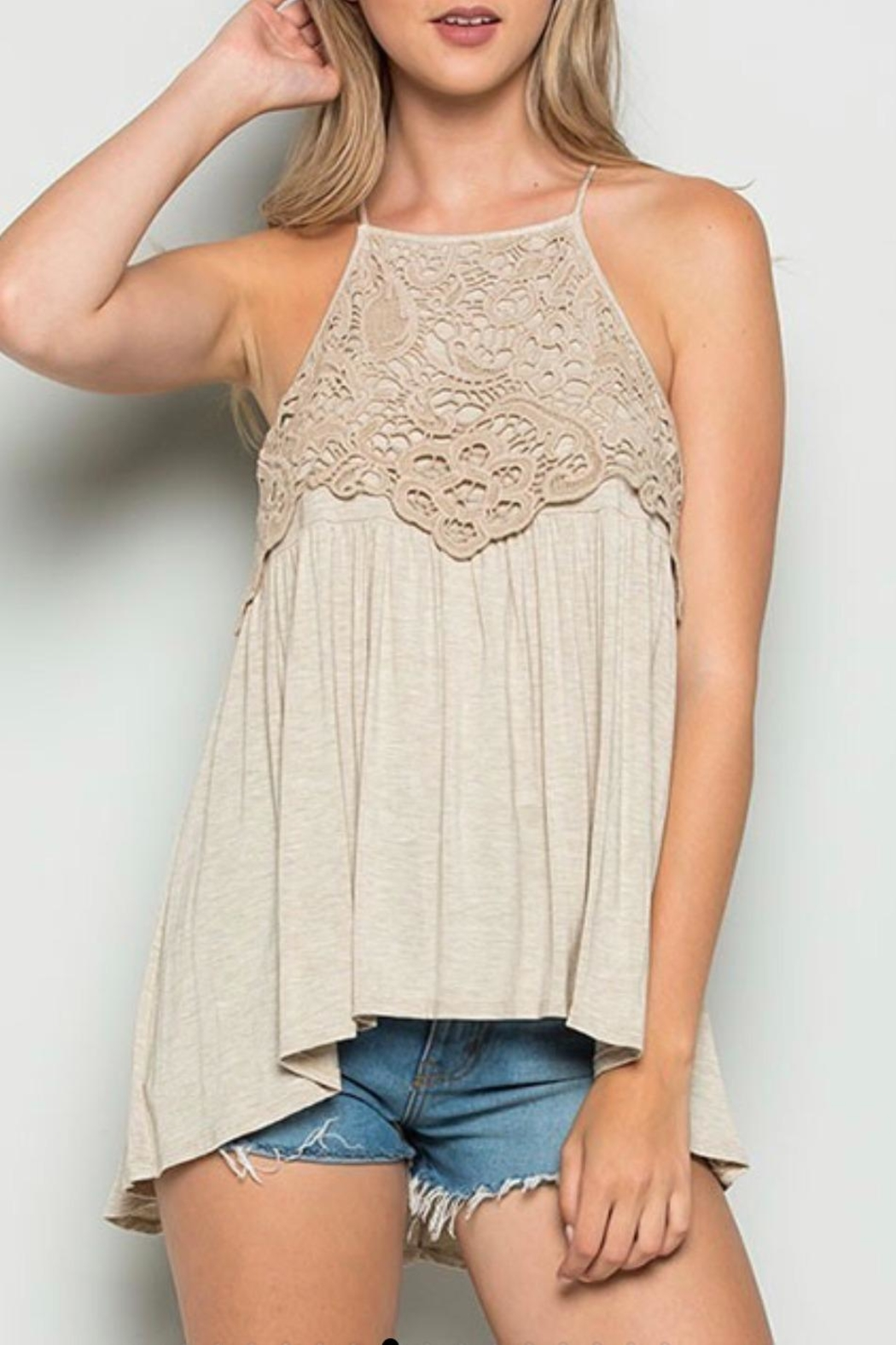 CY Fashion Crochet Lace Tank - Front Cropped Image