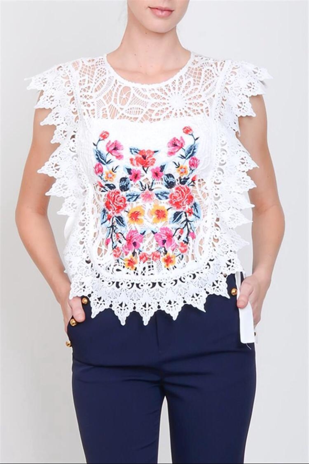 Lulumari Crochet Lace Top - Main Image