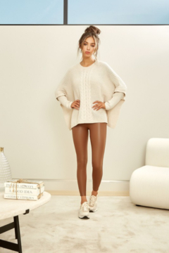 Venti6 CROCHET LONG SLEEVE 2-FER PONCHO SWEATER TOP - Product List Image
