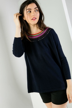THML Clothing Crochet Neck Sweater - Product List Image