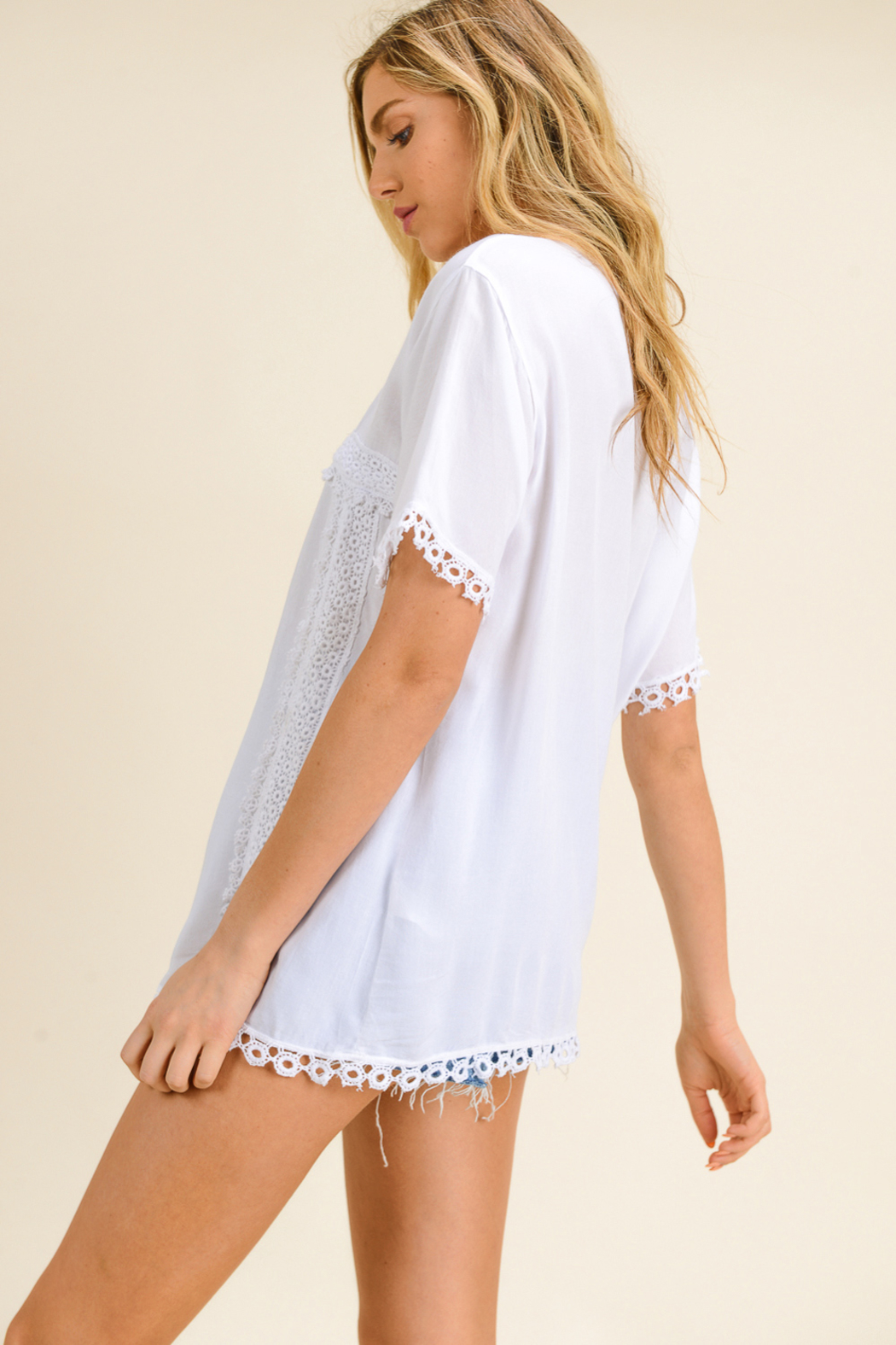 MONTREZ CROCHET PEASANT BLOUSE TOP - Back Cropped Image