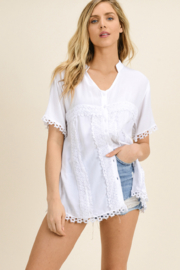 MONTREZ CROCHET PEASANT BLOUSE TOP - Front cropped