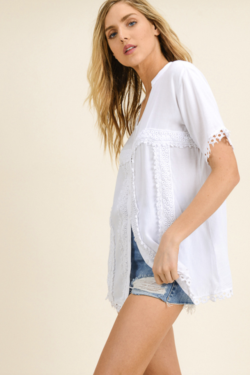 MONTREZ CROCHET PEASANT BLOUSE TOP - Side Cropped Image