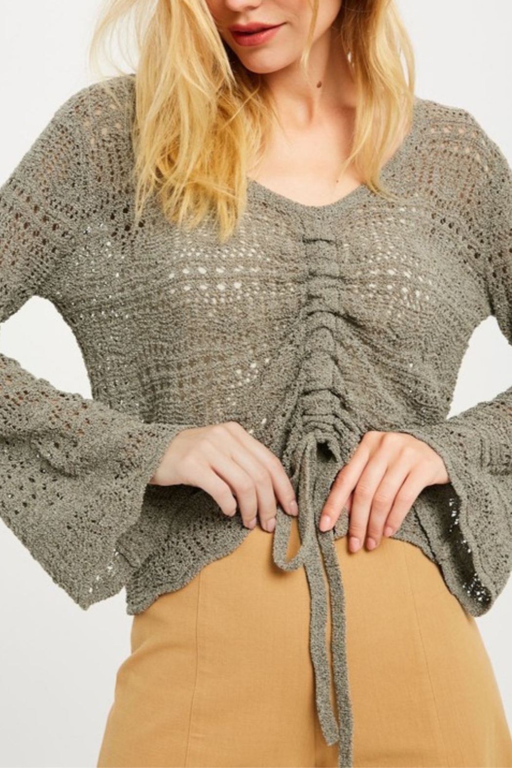Wishlist Crochet Ruched Front Sweater - Front Full Image