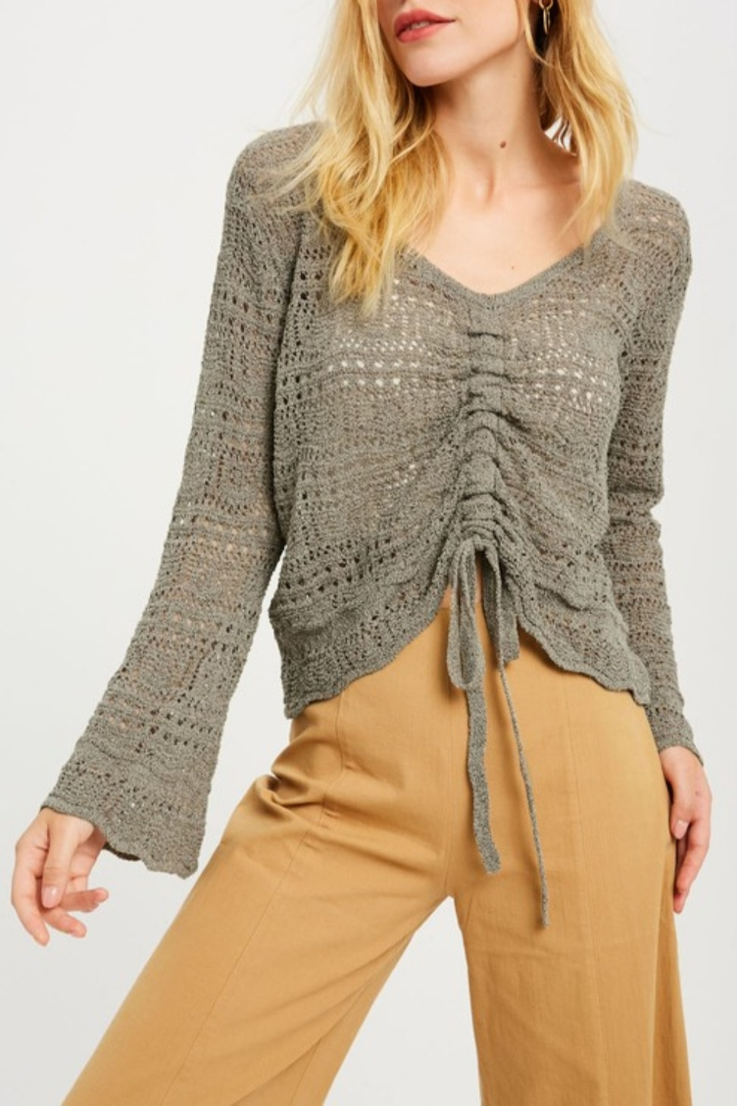 Wishlist Crochet Ruched Front Sweater - Main Image