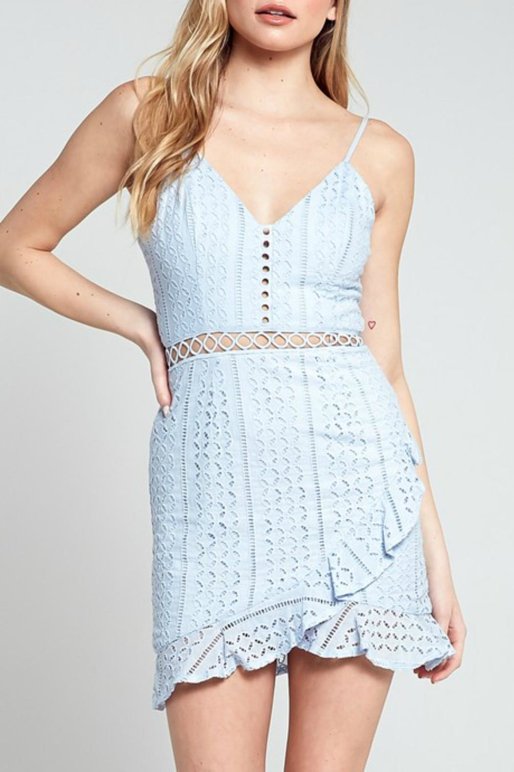 Pretty Little Things Crochet Ruffle Dress - Front Cropped Image