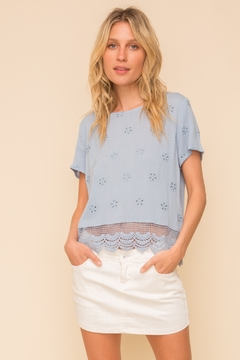 Hem and Thread CROCHET SCALLOP EDGE EYELET BUTTON BACK TEE - Product List Image