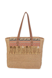 Sun n Sand Crochet Shoulder Tote - Front cropped