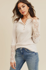 Doe & Rae Crochet Sleeve Detailed Blouse - Front cropped