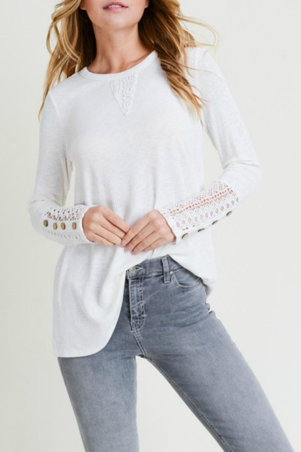 Doe & Rae Crochet-Sleeve Swing Top - Front Cropped Image