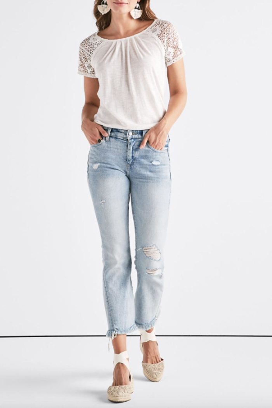 Lucky Brand Crochet Sleeve Tee - Front Cropped Image