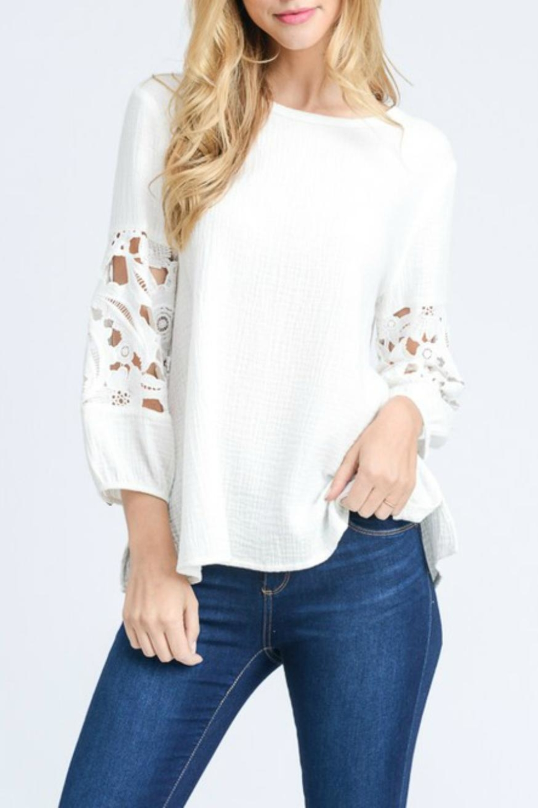 Doe & Rae Crochet Sleeve Top - Front Cropped Image