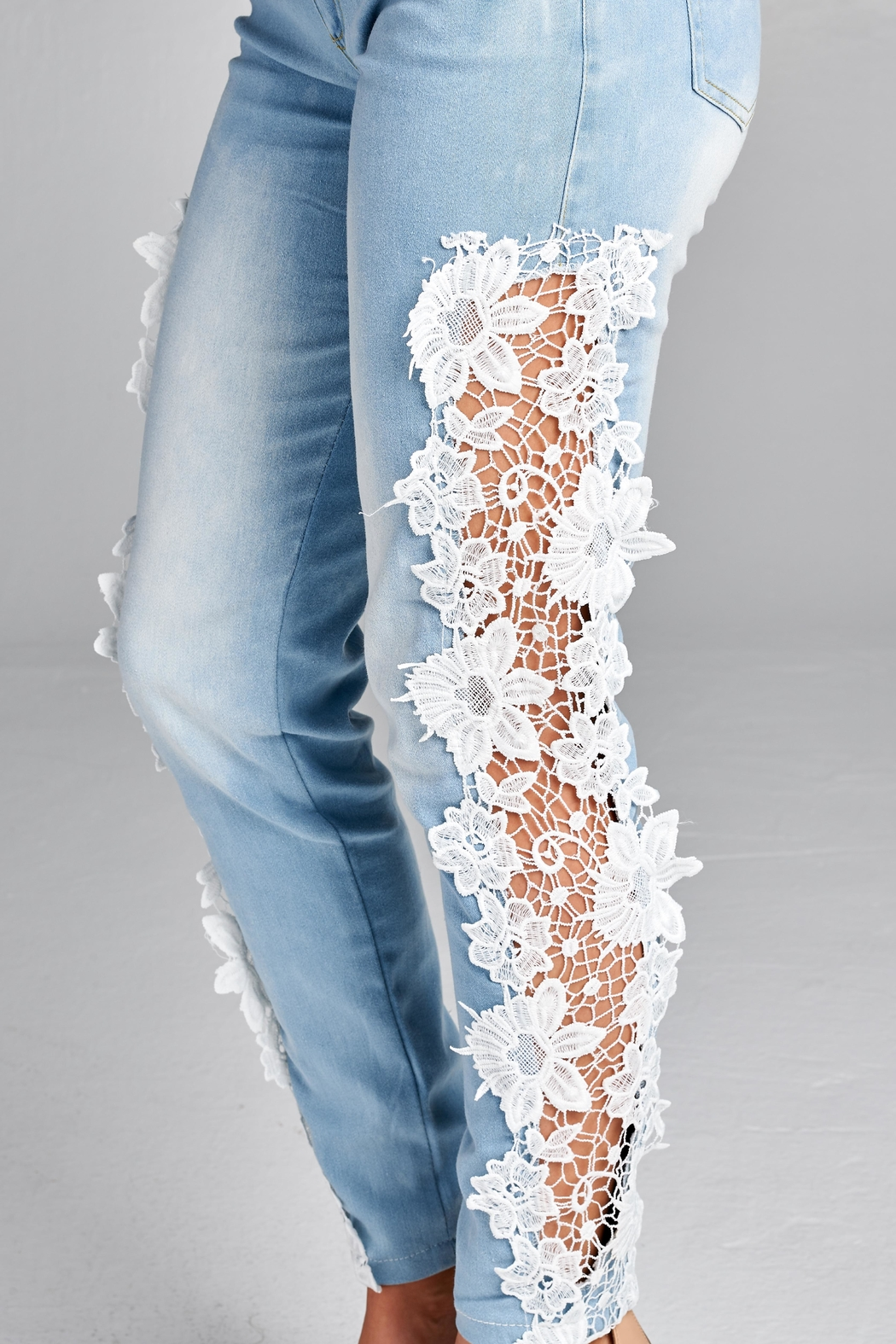 Racine Crochet Statement Jeans - Back Cropped Image