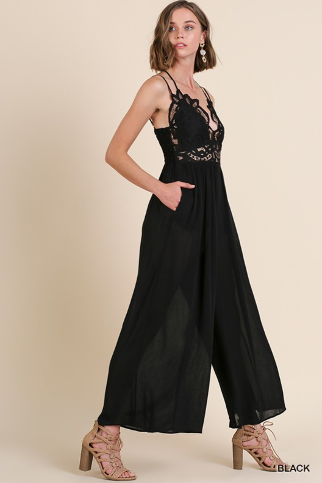 Olivaceous  Crochet Strappy Jumpsuit - Back Cropped Image