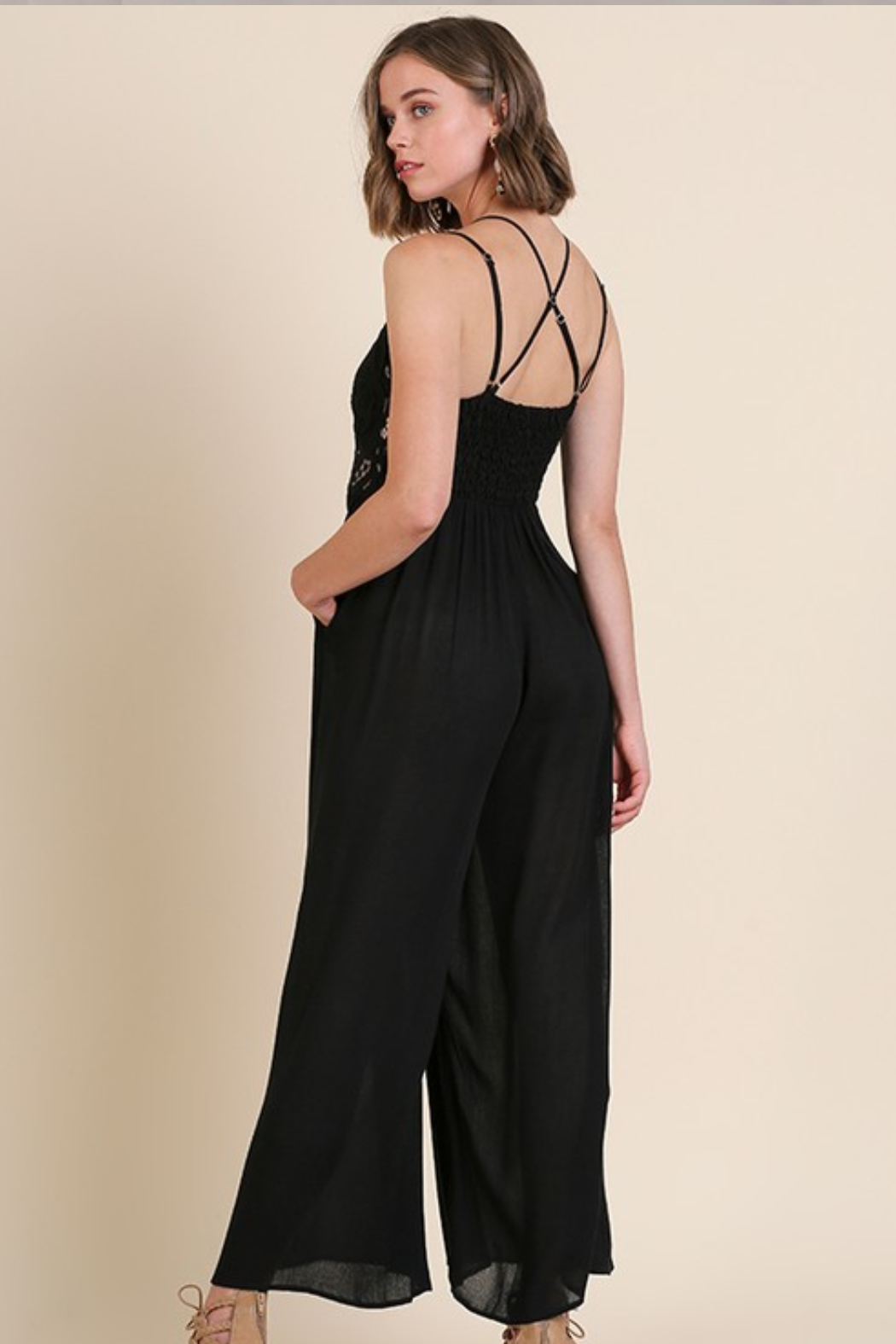Olivaceous  Crochet Strappy Jumpsuit - Side Cropped Image