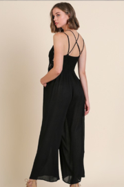 Olivaceous  Crochet Strappy Jumpsuit - Side cropped