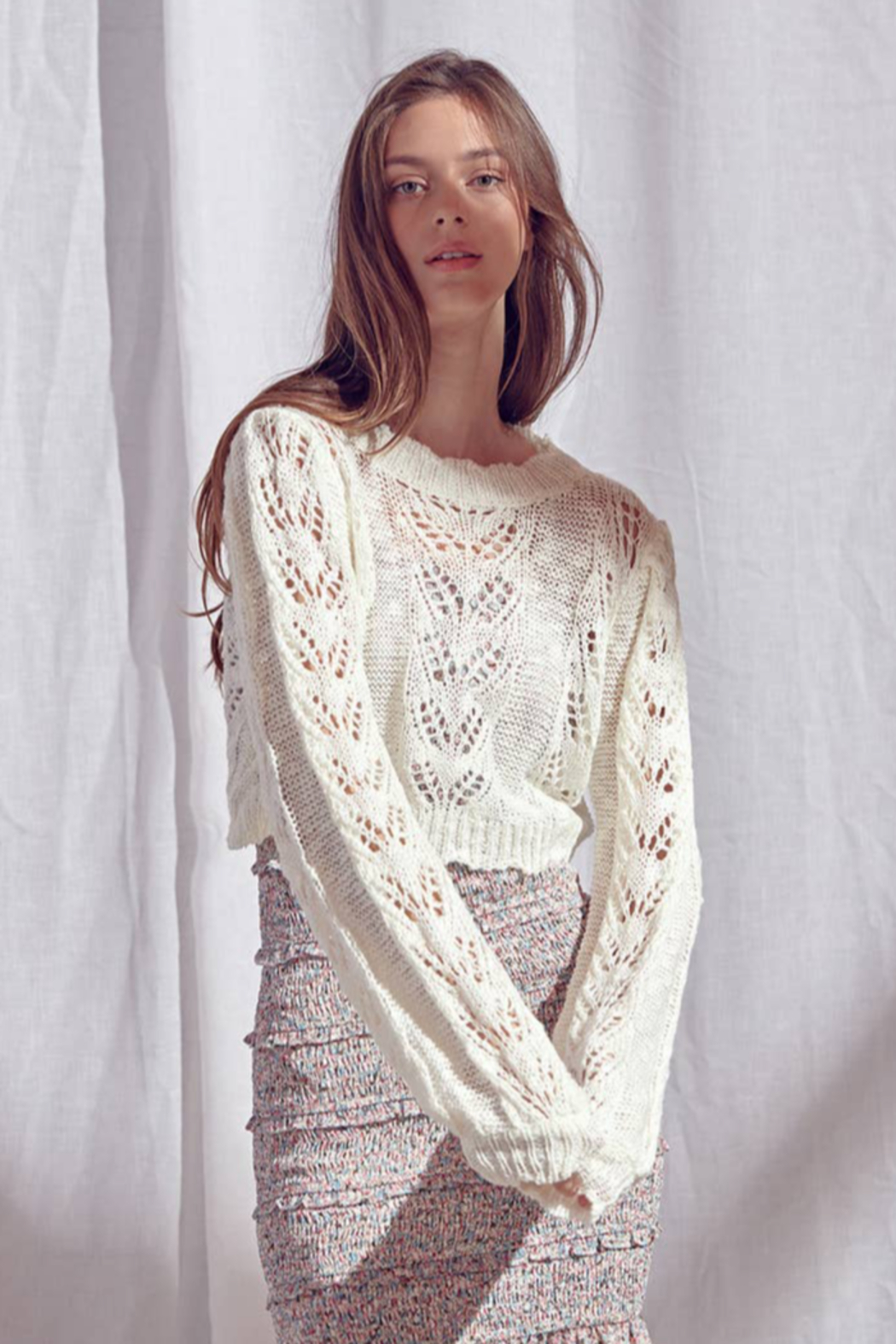 storia Crochet Sweater - Front Cropped Image
