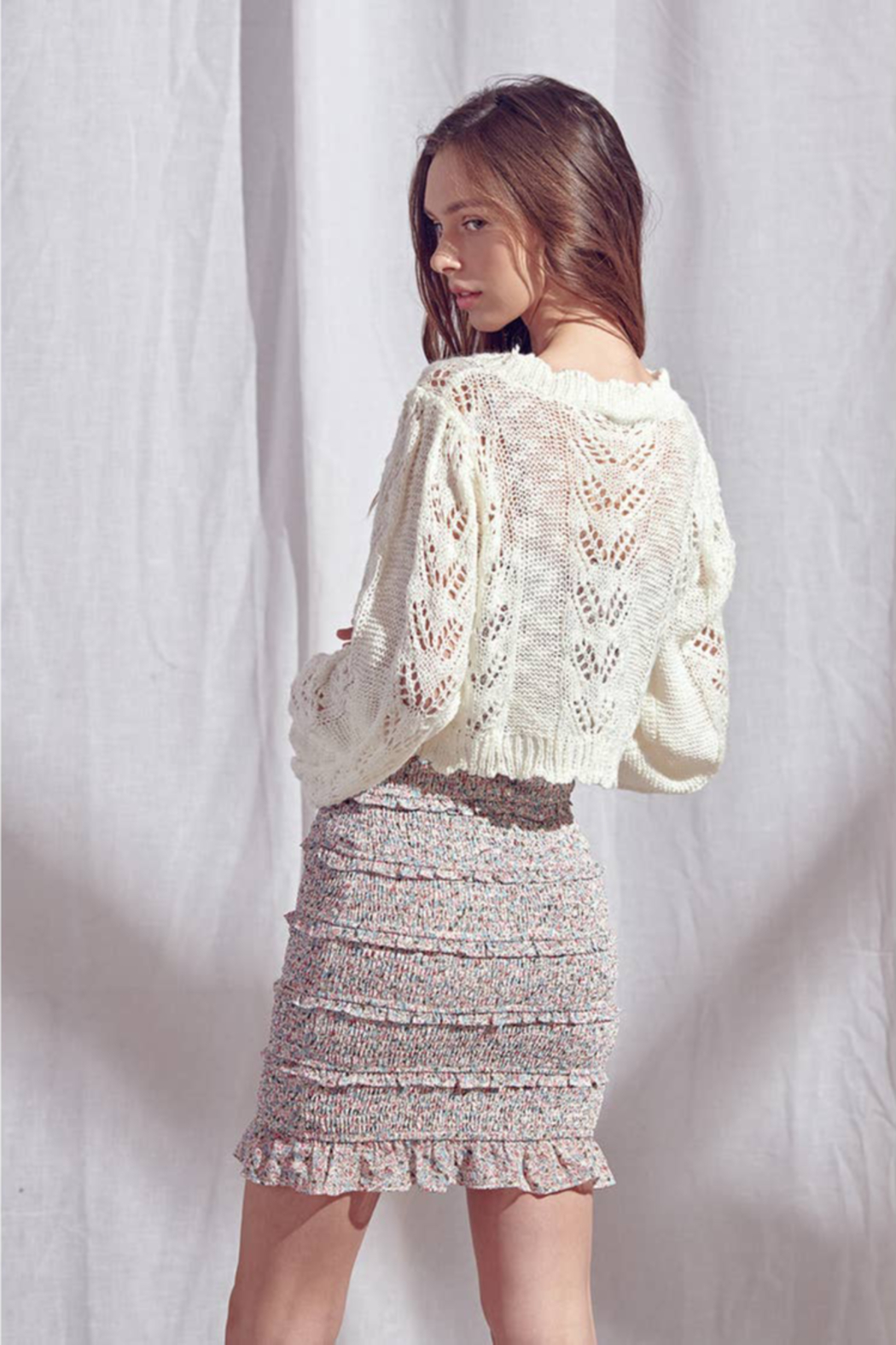 storia Crochet Sweater - Side Cropped Image