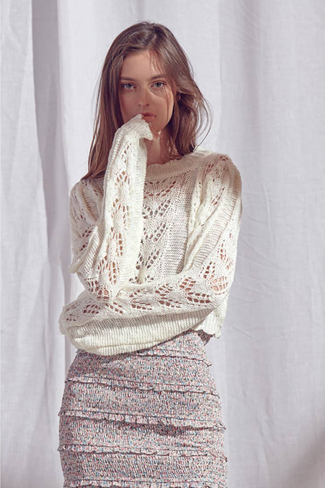 storia Crochet Sweater - Back Cropped Image