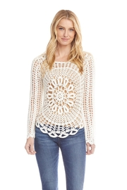 Karen Kane Crochet Sweater, Cream - Product Mini Image