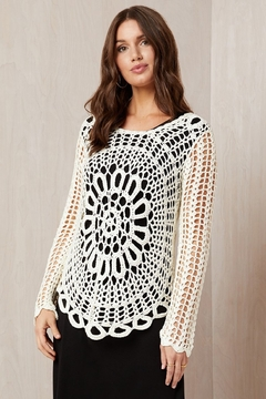 Karen Kane Crochet Sweater, Cream - Alternate List Image