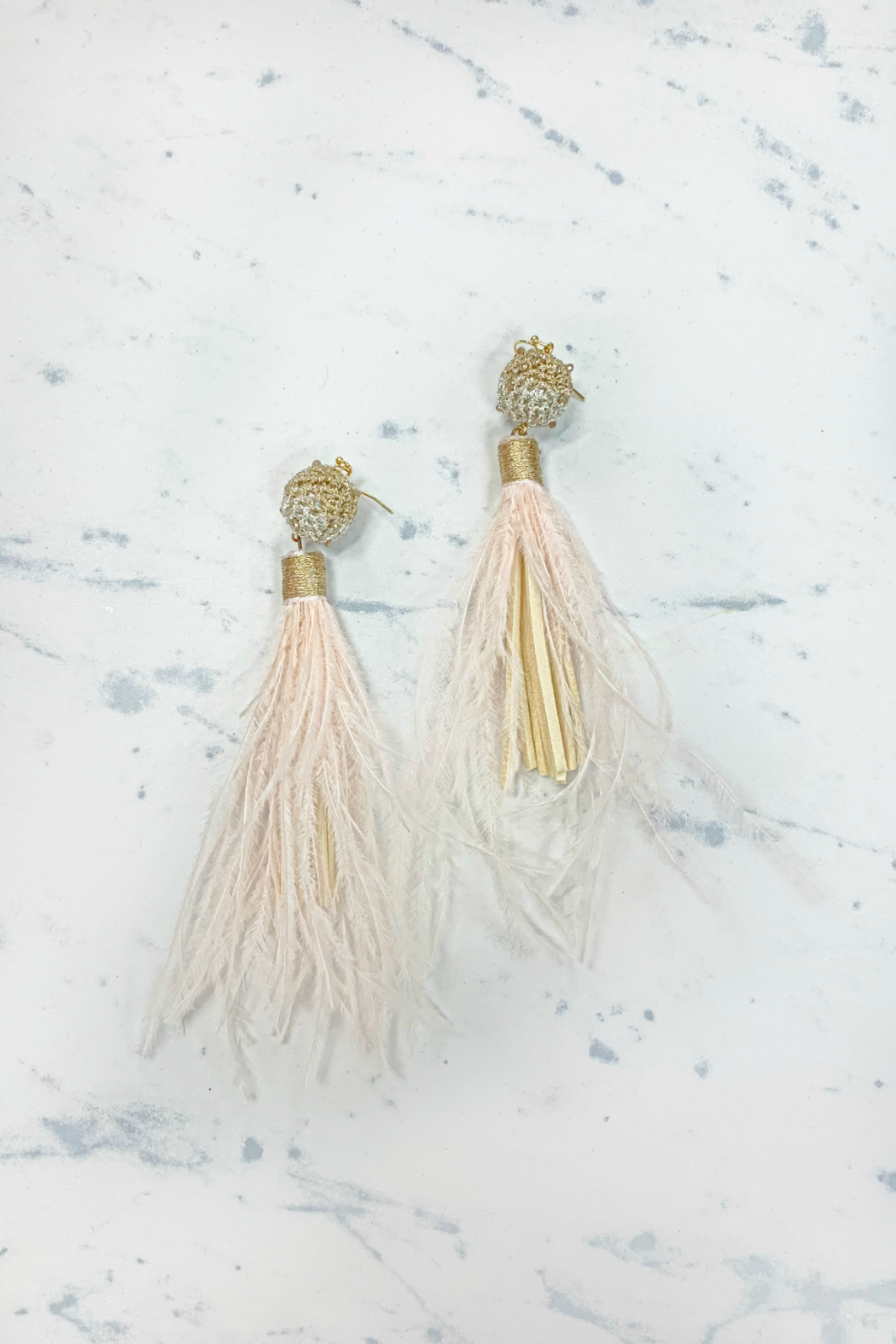 Rush by Denis & Charles Crochet Top Fringe Feather Earrings - Main Image