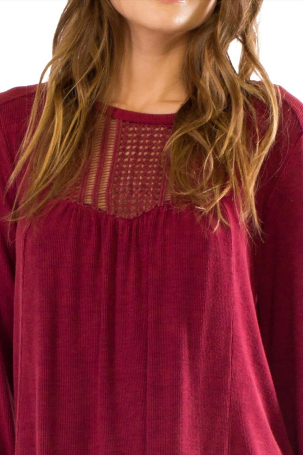 Anama Crochet Yoke Blouse - Side Cropped Image