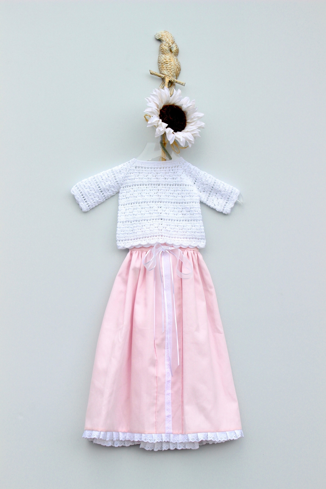 Crochet de Bebe by Roxana Fuentemayor Baptism Knit Gown - Front Cropped Image