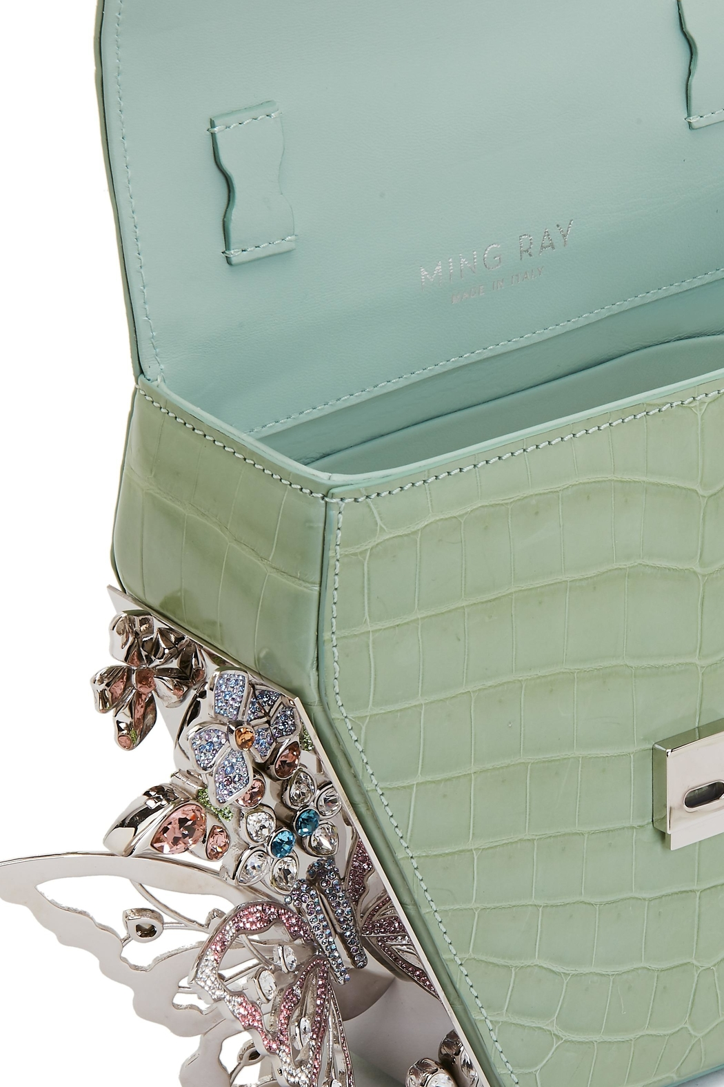 Ming Ray Crocodile Green Shoulderbag - Side Cropped Image