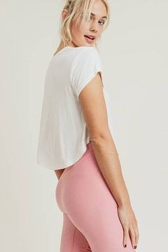 Mono B Show Crop Athleisure Top with Roll-Up Sleeves - Product List Image