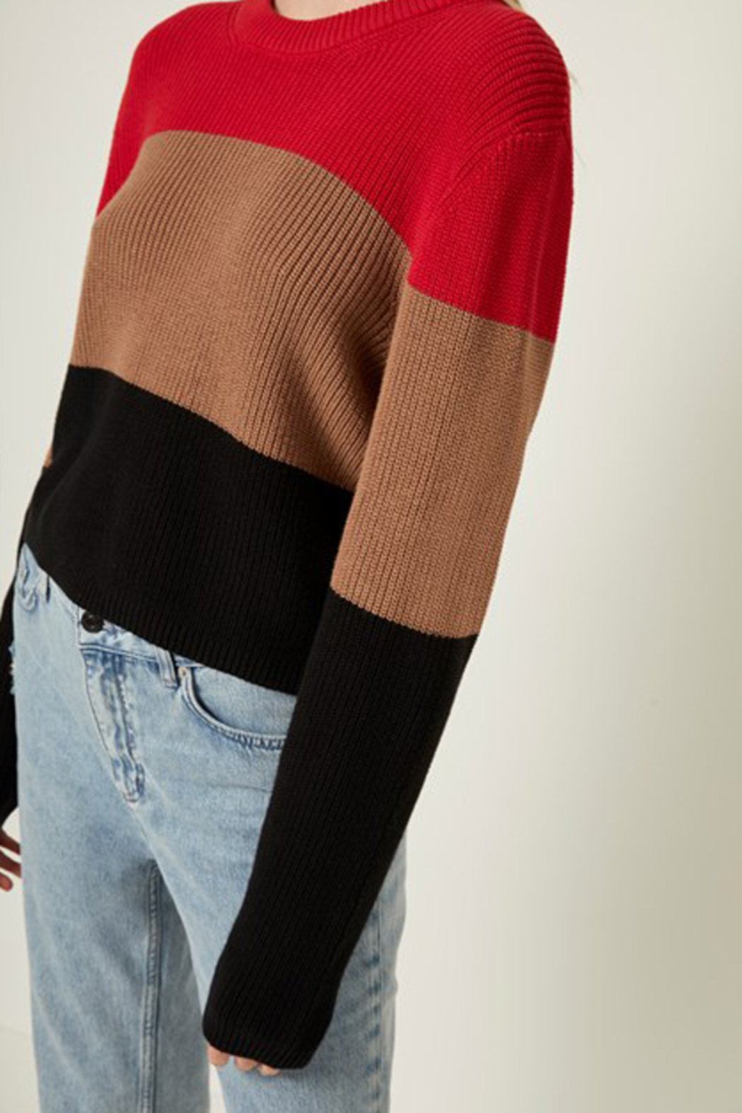 French Connection CROP COTTON STRIPE SWEATER - Side Cropped Image