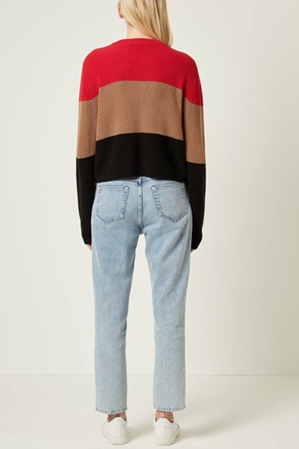 French Connection CROP COTTON STRIPE SWEATER - Back Cropped Image