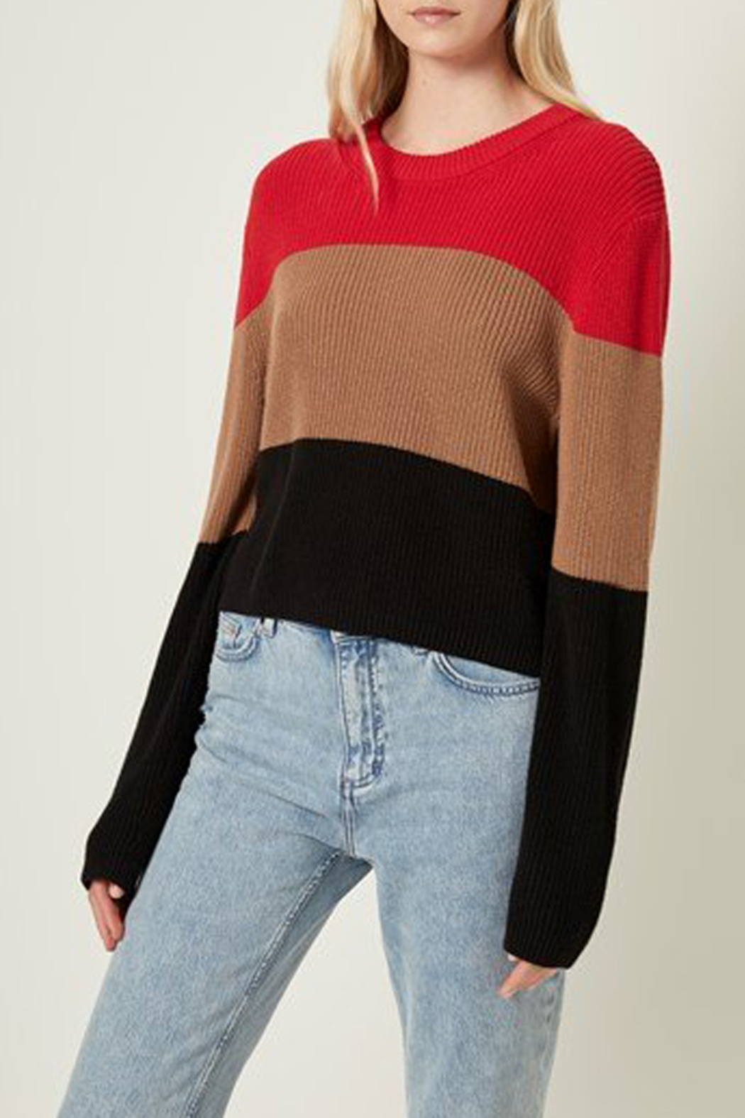 French Connection CROP COTTON STRIPE SWEATER - Main Image