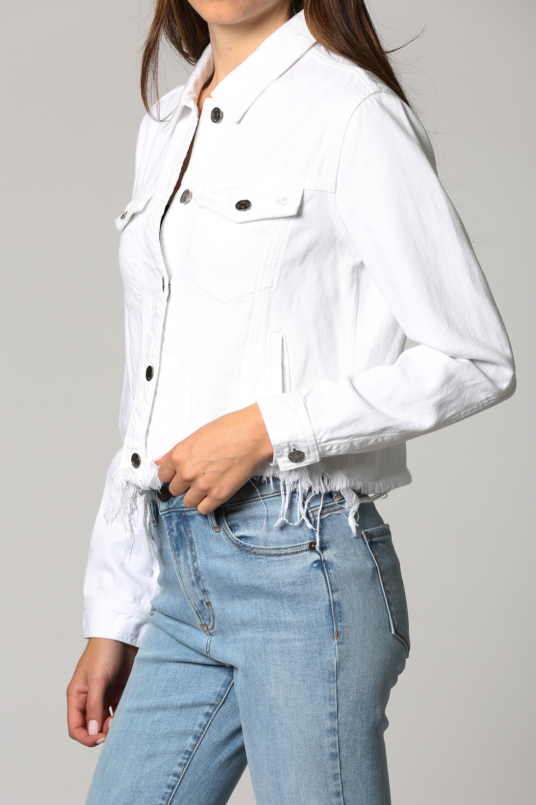 Hidden Brand Crop Fitted Fray Jacket - Front Full Image