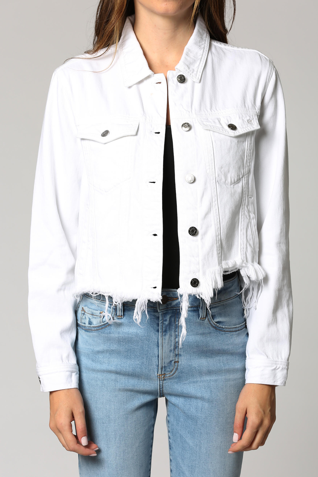Hidden Brand Crop Fitted Fray Jacket - Main Image